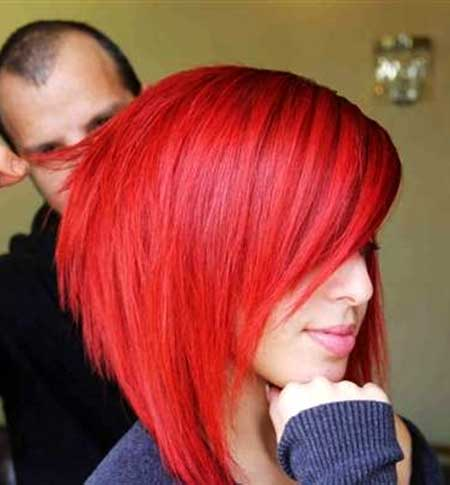 Bright Red Colored Short Bob Hair
