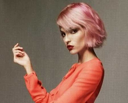 Shiny Baby Pink Hair Color Idea
