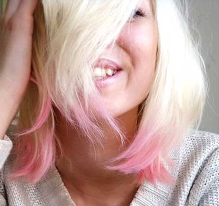 Cream Colored Hair with Pink Colored Ends