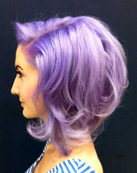 Lavender Colored Short Curly Hair