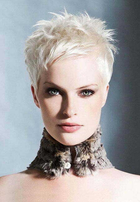 Short Platinum Blonde Haircut