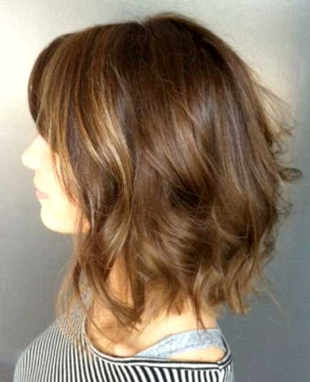 Top View of Short to Medium Bob Wavy Hairstyle