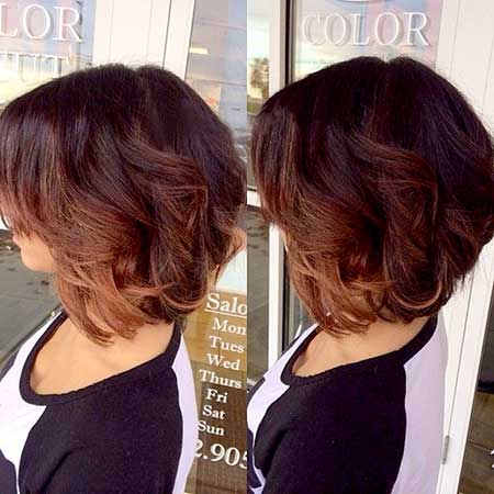 Side View of Bouncy Short Wavy Bob Hairdo