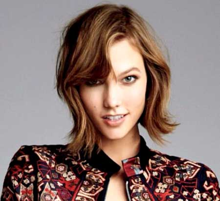 Wavy Hair with Side Swept Wavy Bangs in Front