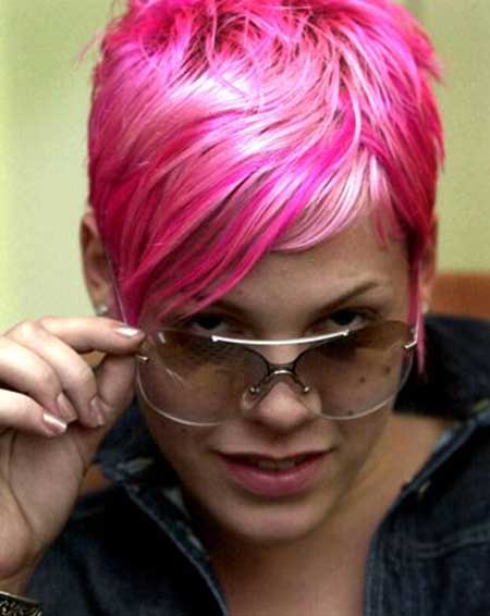 Shiny Pink Colored Short Hair for Girls
