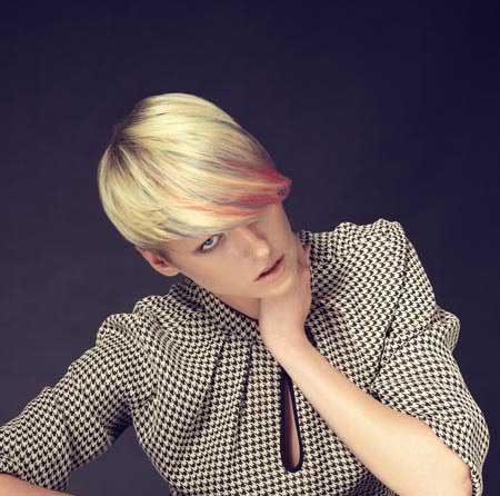 Blonde Colored Short Bob with Orange Bangs