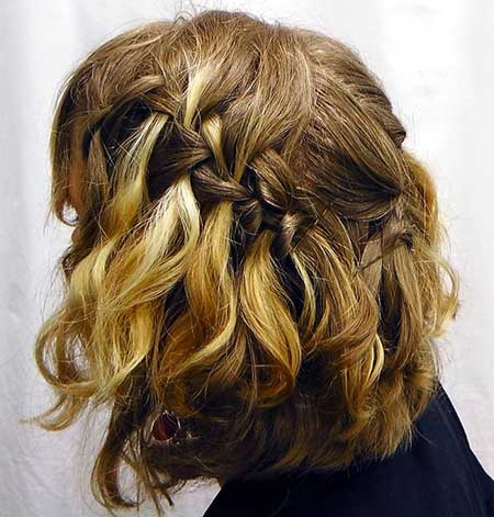 Amazing Waterfall Braid Hairdo for Short Wavy Hair