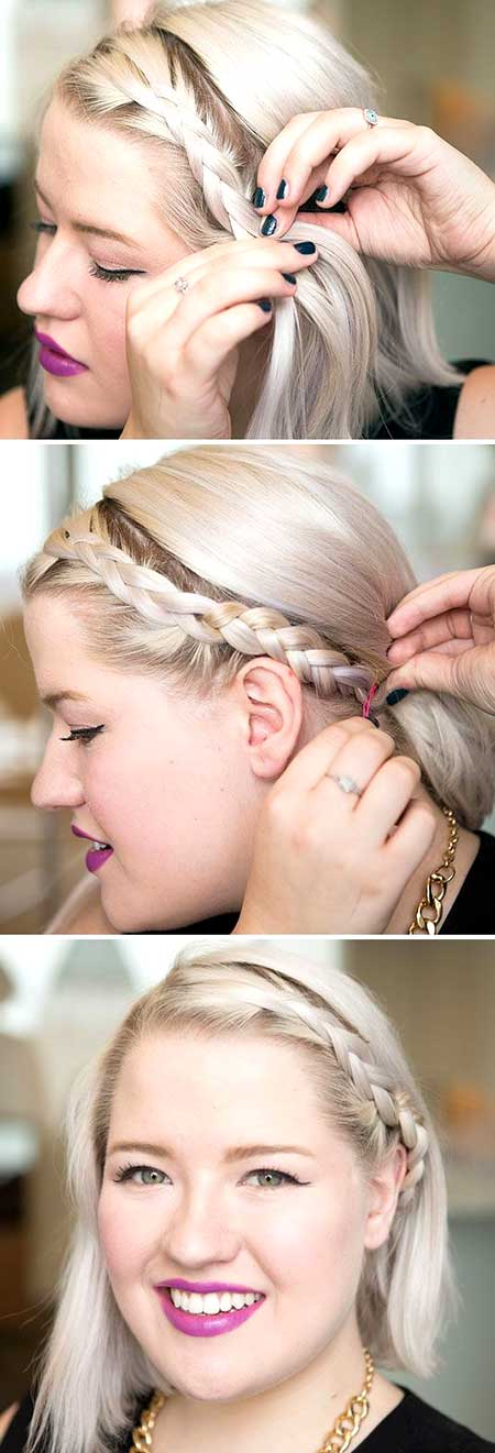 Simple Side Braid Hairstyle for Short Blunt Hair