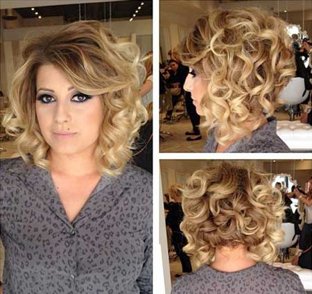 Bouncy Side Swept Hairstyle for Curly Hair