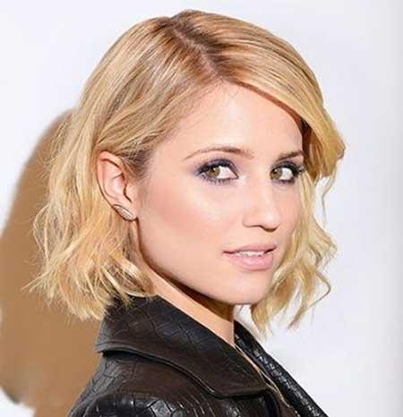 Blonde Wavy Straight Line Cut
