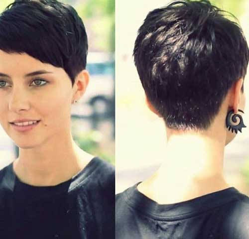 Back Of Pixie Brunette Cut