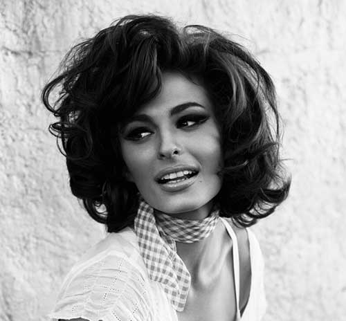 Side Swept Curly Inverted Short Bob Hairstyle