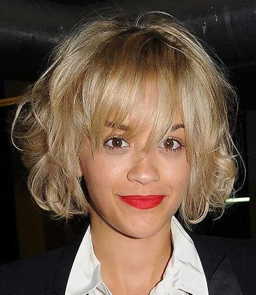 Short Blonde Curly Messy Bob