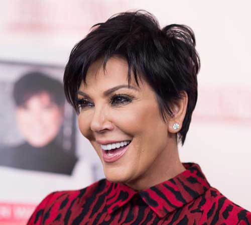 Dark Thick Pixie Haircut for Over 50 Women