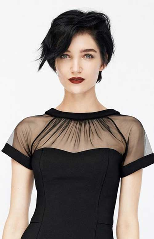 Black Colored Fringed Hair Style