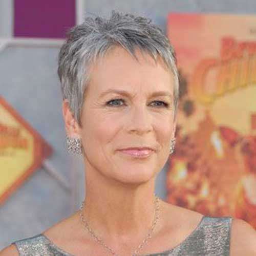 Fine Grey Pixie Hairstyle For Over 50