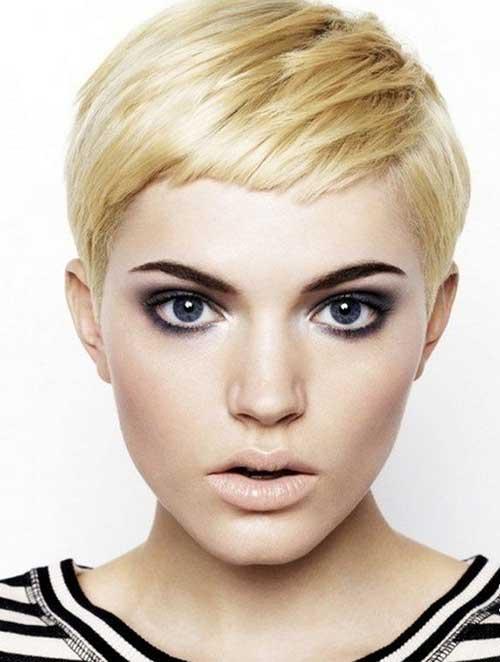 Super Short Blonde Bowl Shaped Hairdo for Girls