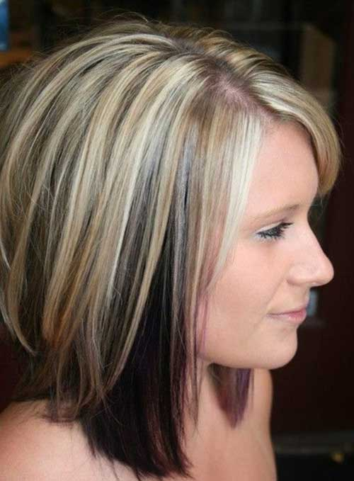 Blonde Medium Short Hair with Black 2015