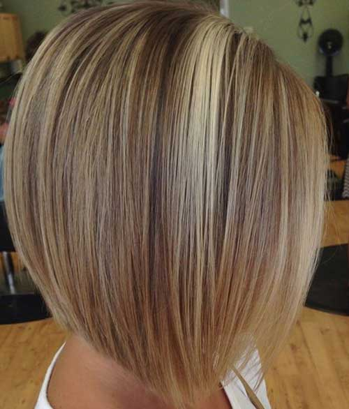 Inverted Bob with Highlights for Fine Hair