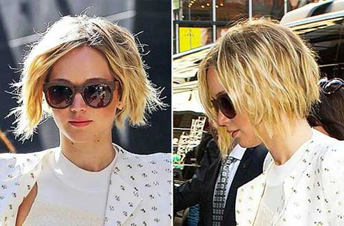 Jennifer Lawrence's Choppy Bob Blonde Hair