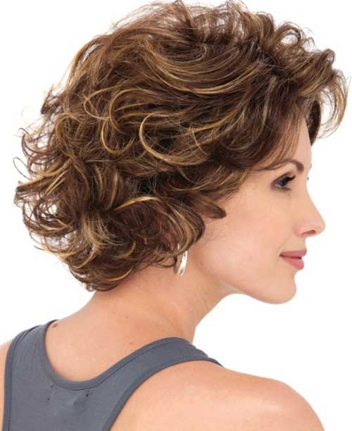 Layered Bob with Bangs Curly Hairstyle