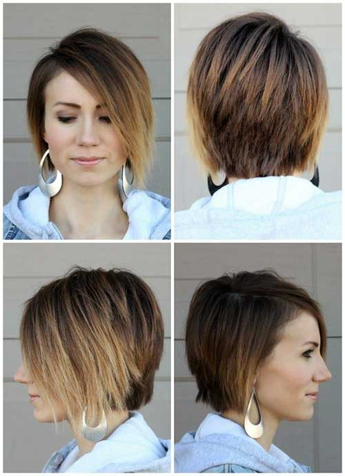 Ombre Asymetrical Long Pixie Hairstyles