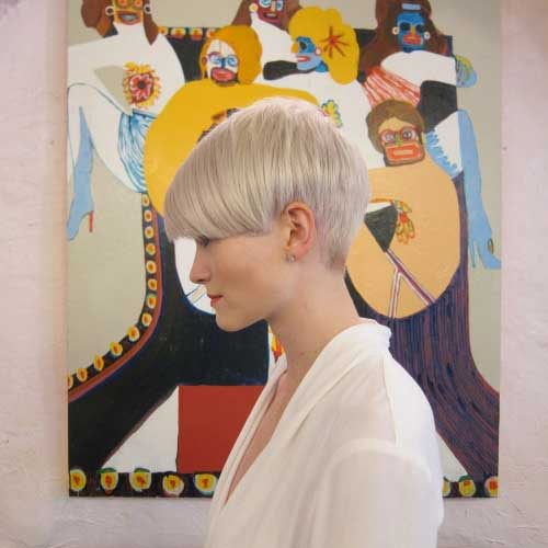 Pastel Cute Blonde Pixie with Bangs