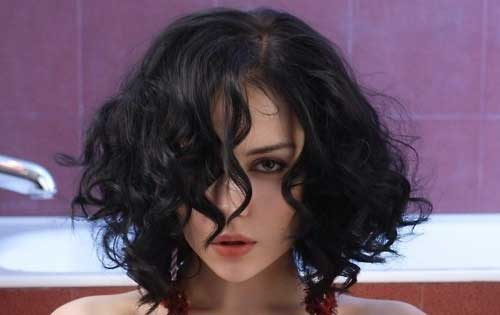 Dark Curly Short Bob Hairstyle