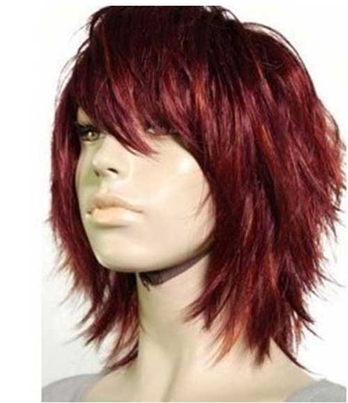 Short Dark Red Layered Hairstyle