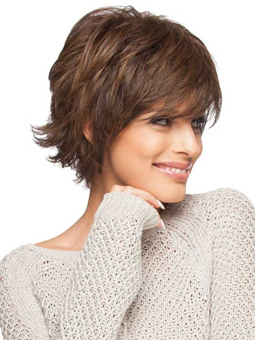 Short Layered Haircut Feathered Bangs