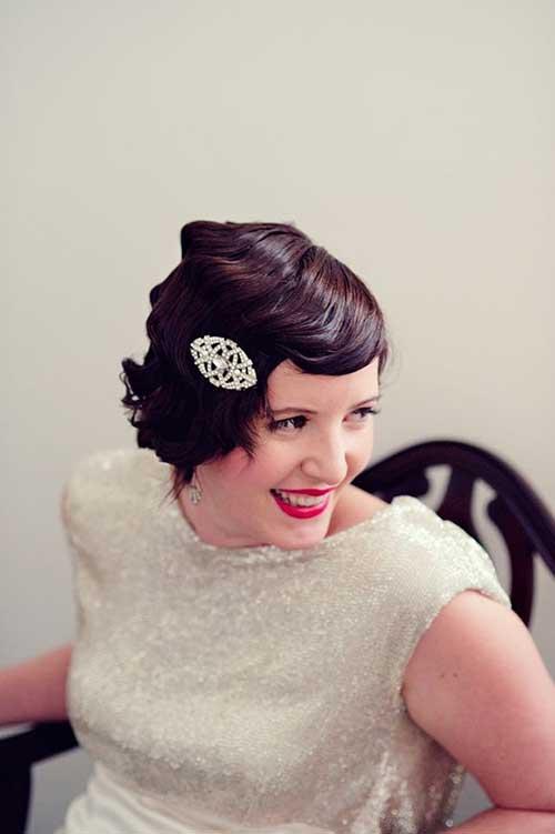Short Dark Vintage Wedding Hairstyles