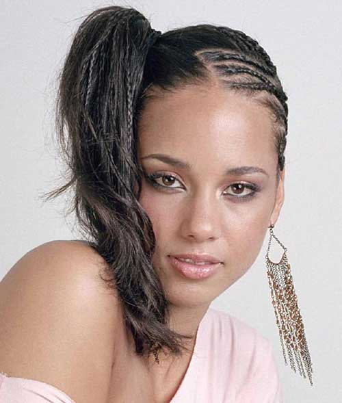 Alicia Keys Side Ponytail Hairstyles