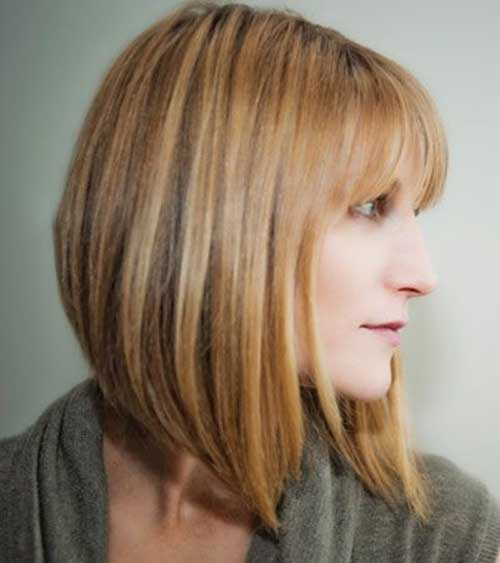 Honey Colored Angled Best Bobs with Bangs