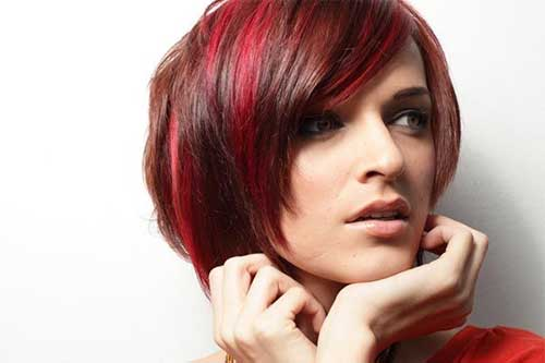 Red Angled Bob Hairstyle