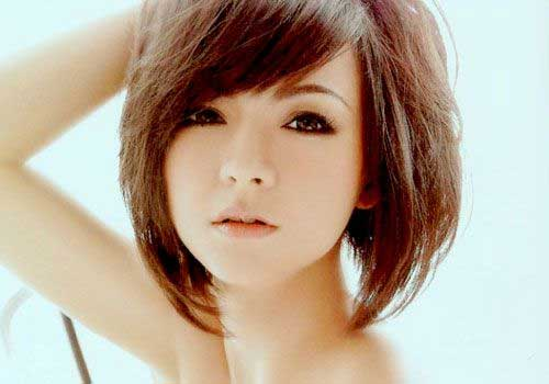 Asian Short Angled Hair Bob with Bangs