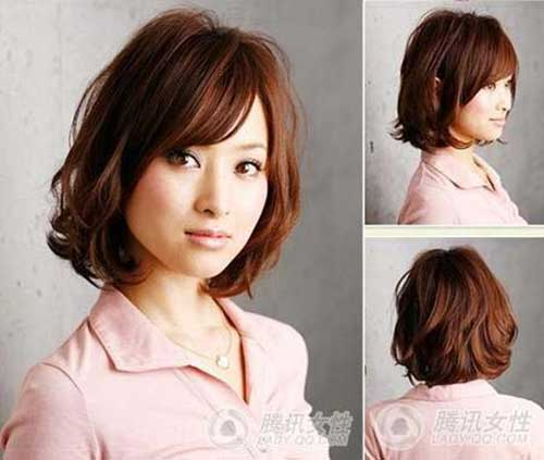 Asian Cute Short Bob Haircut with Bangs