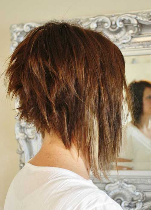 Back View Choppy Long a Line Bob Haircut