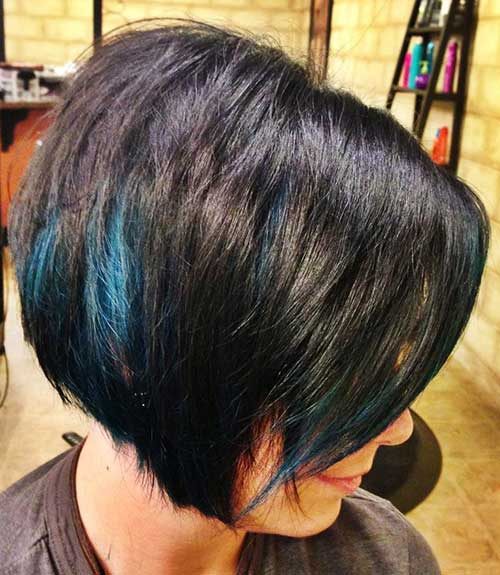 Blue Streaks in Short Haircut