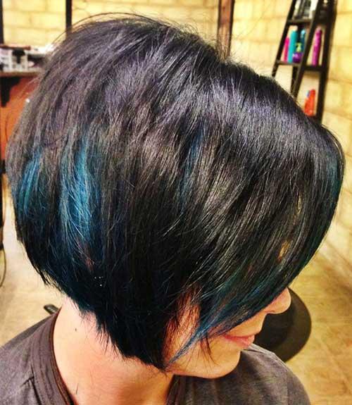 Blue Streaks in Short Haircut
