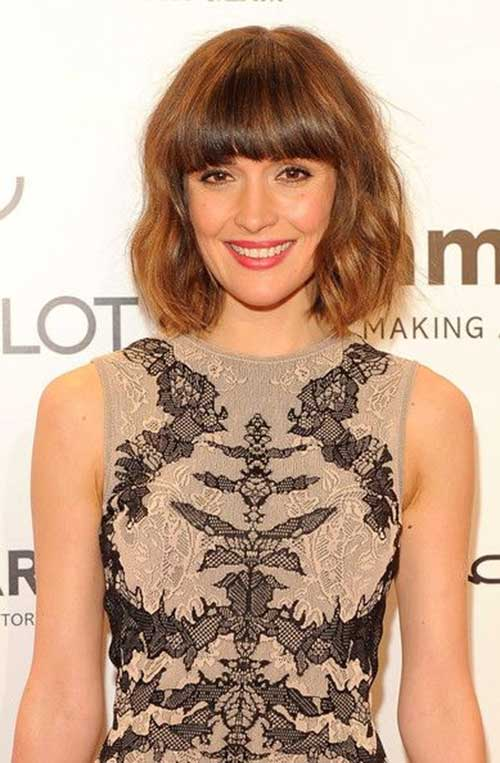 Brown Colored Wavy Hair with Bangs