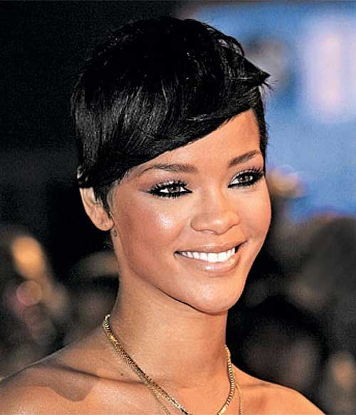 Rihanna Hair Celebrities with Bangs