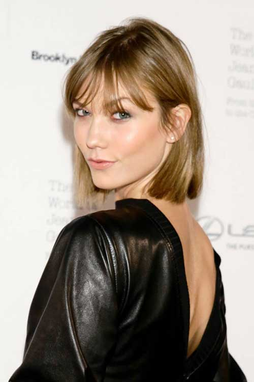 Karlie Kloss Blonde Hairstyle with Bang