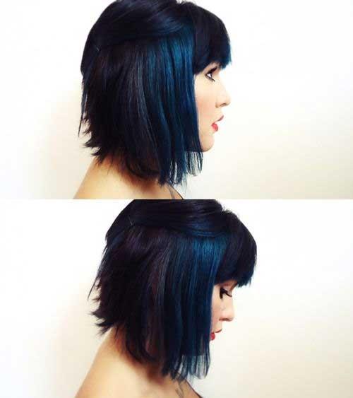 Bangs Bob Dark Blue Short Hair