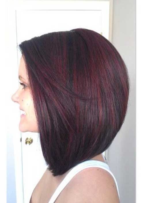 Dark Hair Red Lighted Bob