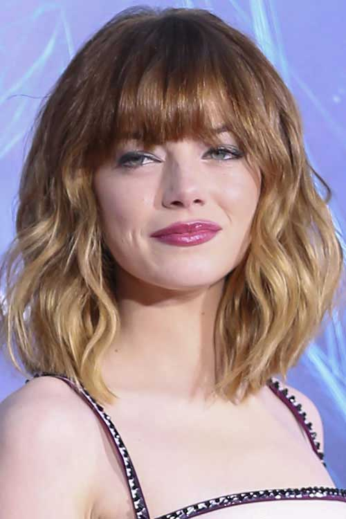 Emma Stone Wavy Hair Bangs