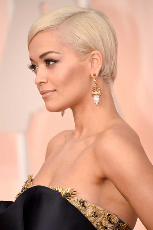 Rita Ora Blonde Pixie Haircuts 2015