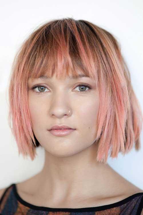 Fringe Pink Bob Haircut