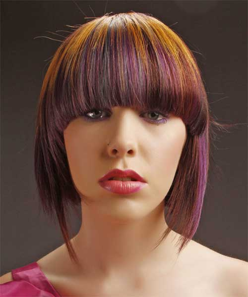 Colored Groovy Inverted Bob With Bangs