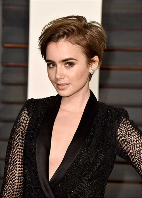 Lily Collins Longer Pixie Hair
