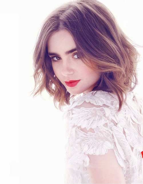Lily Collins Layered Hairstyle